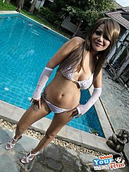Busty Anne Standing Beside Swimming Pool Wearing White Underwear And High Heels