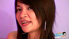Thai Girl Eff Long Black Hair Wearing Hooped Earrings