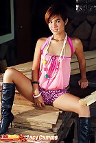 lucy cumme wearing pink top leopard print panties black boots