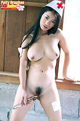Nurse Playing With Dildo Big Breasts Natural Bush