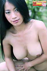 Patty Oraphan Baring Her Big Breasts Long Hair Over Her Shoulder