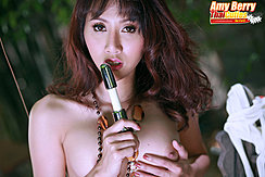 Amy Berry Holding Dildo Cupping Small Breast