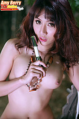 Toy Raised To Her Lips Long Hair Small Breasts