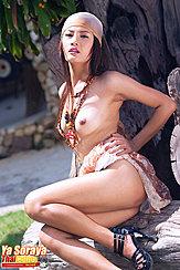 Ya Soraya Seated Topless With Hand On Hip Bare Breasts High Heels