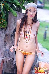 Thumbs In Panties Necklace Dangling Between Her Breasts