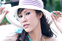 Breasty Nee Nalinda strips bikini in sun hat and poses nude
