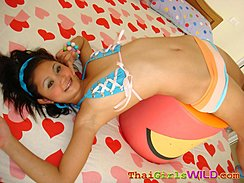Febe Arching Her Back Over Cushion Cute Tits In Bra Wearing Shorts