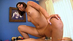 Maleen Riding Cock In Cowgirl Position Shaved Pussy