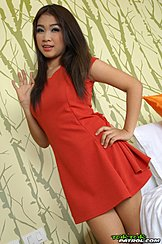Wearing Red Dress Long Hair Hand On Hip