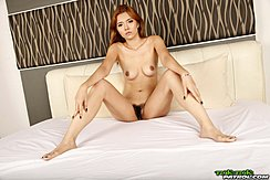 Sitting On Bed Naked Legs Spread Natural Bush Bare Feet Painted Toenails